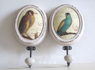 法式乡村 复古做旧风格 木质小鸟图案装饰挂钩 软装饰品 出口正品,挂钩,