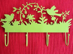 北欧铁艺风-挂钩/多功能挂钩/装饰品/组挂钩-双鸟绿,挂钩,