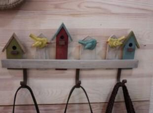 韩国代购 HOME木质多彩房子装饰挂钩/挂衣钩/钥匙钩,挂钩,