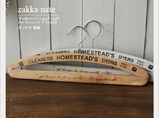 zakka杂货 复古衣架 家居日用 木制衣架 实木 服饰拍摄道具,挂钩,
