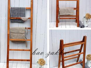 BAO ZAKKA 日单 杂货 2用折叠 旧木毛巾架 晒衣架 浴巾架 30815,挂钩,
