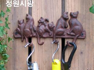 【庭院时光】花园杂货之欧式复古铁艺淘气猫挂钩,挂钩,