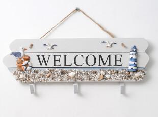 益琪 地中海风格欢迎牌 WELCOME挂牌 装饰挂钩 壁挂摆设YQ-9090,挂钩,