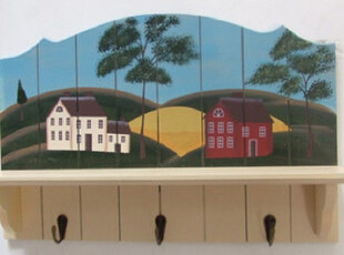 外单田园风格彩绘壁挂 衣帽架木制手工 装饰挂件浪漫小屋室内壁饰,挂钩,