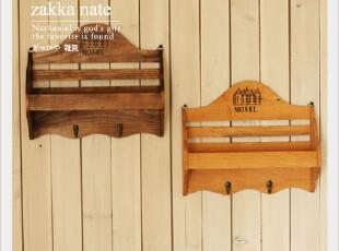ZAKKA杂货 乡村复古实木做旧英文壁挂//置物架/挂钩/杂物架,挂钩,