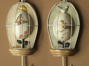 欧式田园美式乡村 鸟笼创意树脂铁艺挂钩 壁饰墙壁装饰品2款选,挂钩,