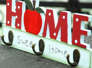 home 苹果 田园 创意 铁艺 木质 挂钩 衣帽钩,挂钩,