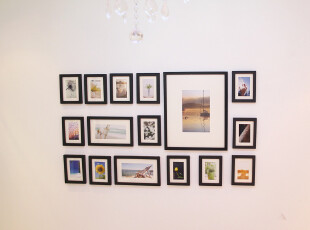 wotime家居馆 16框实木相片墙组合 创意相框墙 照片墙 送挂钩模板,挂钩,