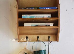 Fan's zakka杂货 原木旧木制复古实木三挂钩壁架 壁挂,挂钩,