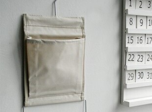 zakka日式杂货 挂袋 布袋 壁挂 收纳袋 带挂钩米色布袋 小号,挂钩,