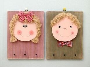 韩国正品代购 笑脸娃娃木质装饰挂钩/钥匙挂钩 衣服挂钩 一对,挂钩,