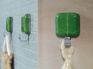 【欧洲时尚丝普瑞】Spirella方形绿色叶子浴室装饰挂钩/粘钩(1个),挂钩,