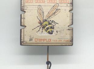 蓝调地中海美式乡村法式田园外贸原单木质做旧铁挂钩衣帽钩蜜蜂,挂钩,