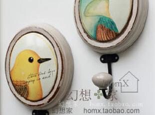 欧式田园小鸟图案椭圆木制壁挂装饰画挂钩 挂衣钩 衣帽挂钩,挂钩,