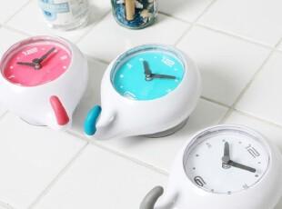 『韩国进口』R728 浴室厨房挂钩式防水吸盘挂钟 三色入,挂钩,