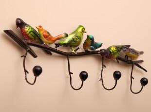 洛克安娜 美式田园铁艺陶瓷小鸟墙上衣服挂钩壁挂服装店挂钩创意,挂钩,