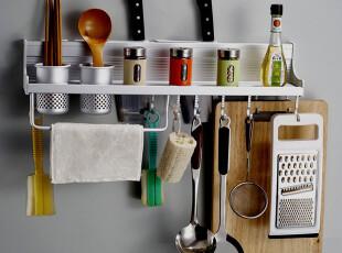 厨房 置物架 刀架 太空铝挂件挂架 双排活动10挂钩,挂钩,
