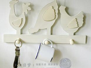 奶白色 原木 法式田园乡村【三只鸡 挂钩 壁饰】,挂钩,