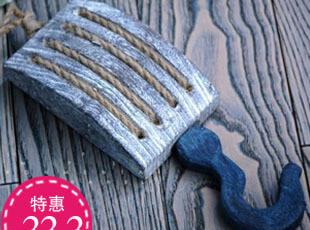 地中海挂钩麻绳木质装饰粗犷实木原木个性创意白塔木单钩挂钩M,挂钩,