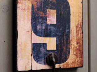 pop风格仿旧数字木板画铁艺挂钩 个性实用0~9黑体字木牌挂钩,挂钩,