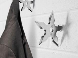 美国进口 忍者武星形镖造型 创意衣帽钩|挂钩SHURIKEN NINJA,挂钩,