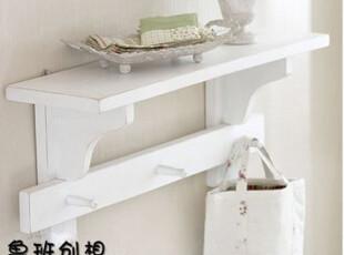 白色壁挂 搁板 地中海田园风格搁板 实木挂衣架 实木 专业定制,挂钩,
