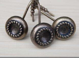 &m 默玛 欧式复古圆型纽扣锌合金浴帘/窗帘滚珠金属挂钩 12个,挂钩,