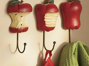 外贸欧式苹果挂钩田园创意铁艺挂钩衣帽架毛巾架杂物挂钩壁挂钩,挂钩,