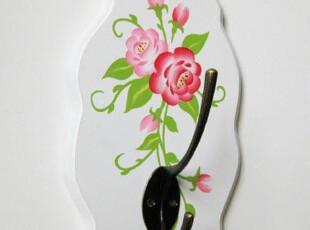 田园风格木制手绘玫瑰挂钩/粘钩 衣钩/钥匙钩  衣帽挂,挂钩,