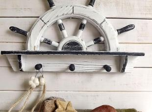 海洋家居装饰木质舵手挂钩地中海装饰舵手隔板挂钩装饰壁挂,挂钩,