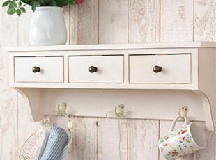 地中海 田园风格壁挂 置物架 美式乡村风格 实木吊柜白色可定制,收纳架,