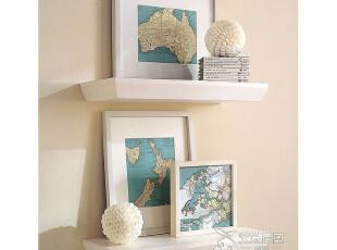 艾米尼奥地中海现代简约实木家具一字搁板电视墙隔板置物架Y0731,收纳架,