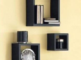 黑色正方形直角壁挂墙上小家具墙壁架搁板壁挂托架,收纳架,