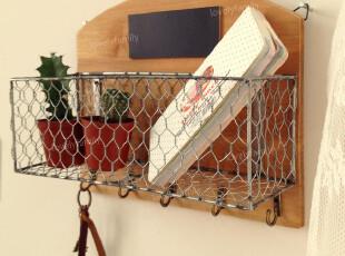 zakka实木置物架 壁挂置物架 杂物置物架 铁丝网置物架 挂物钩,收纳架,