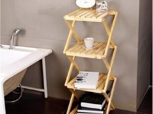 四层置物架实木 书架卧室 卫生间置物架柜 四层折叠置物架 松木,收纳架,