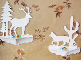田园动物鹿隔板壁挂架搁板壁架创意雕花卫浴架置物架 儿童房饰品,收纳架,