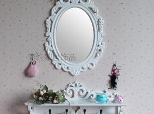 简约家居饰品 欧式白色田园风格 壁架配镜 小户型梳妆台置物架,收纳架,