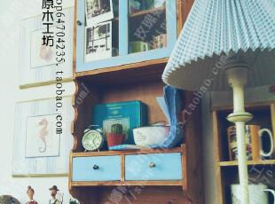 小世界—地中海壁挂 实木吊柜 复古做旧置物架 美式田园壁柜,收纳架,