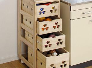 天然木色风格 厨房收纳柜 实木蔬菜柜、碗筷柜、电器、果蔬收纳,收纳柜,
