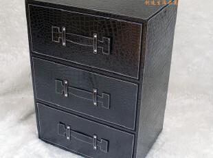 高档时尚现代皮质床头柜/宜家三斗柜 三层多功能抽屉式收纳储物柜,收纳柜,