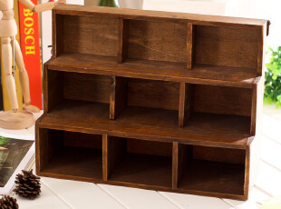 zakka可挂墙九格梯形收纳柜 做旧复古 实木9格桌面收纳盒 整理柜,收纳柜,
