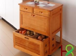 华森蔬菜储物柜/泡桐木餐边柜实木移动柜/特价正品大促HS072,收纳柜,