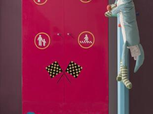 衣柜 红色 蓝色 两门 儿童家具 青少年套房 可爱 现货 男孩 冲钻,收纳柜,