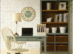 2012美式地中海田园简欧蓝灰色书架书柜边柜全实木家具厂家可定制,收纳柜,