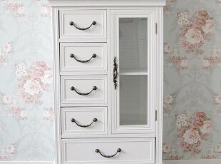 简约家居饰品 韩式白色田园风格 餐边柜 斗柜 收纳柜 玻璃柜特价,收纳柜,