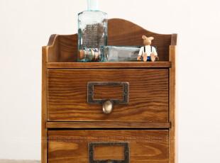 桌面首饰化妆品香水收纳柜子 实木质复古二抽屉储物柜 zakka杂货,收纳柜,