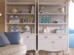 巢木 地中海风格家具 书柜 书架 实木 双门书柜书架组合 组合书柜,收纳柜,