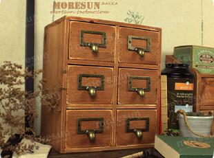 优木,杂集。双列。做旧实木收纳柜 6格文件抽屉柜 首饰柜 杂货柜,收纳柜,