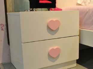 【家具精品馆】彩色儿童床头柜 桃心双抽灯柜 可爱公主收纳柜M30,收纳柜,