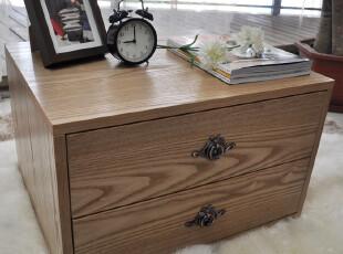 【方格诚品】简约现代古典二抽床头柜,收纳柜,